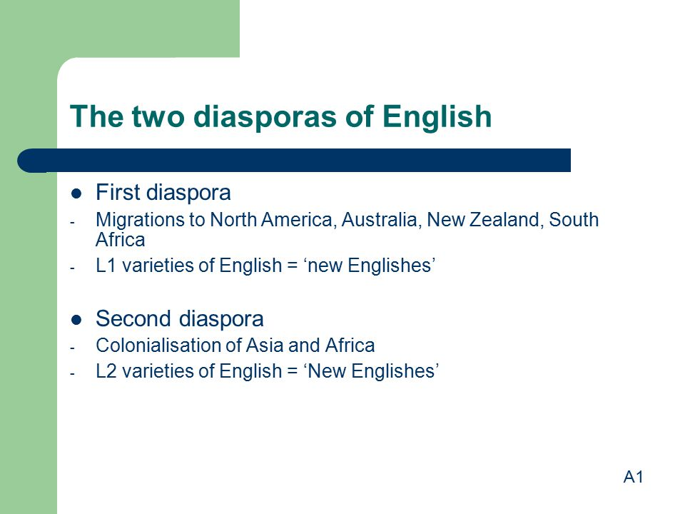 The two diasporas of English First diaspora - Migrations to North America, Australia, New Zealand, South Africa - L1 varieties of English = 'new Engli