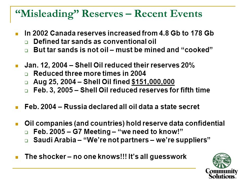 """""""Misleading"""" Reserves – Recent Events In 2002 Canada reserves increased from 4.8 Gb to 178 Gb  Defined tar sands as conventional oil  But tar sands"""
