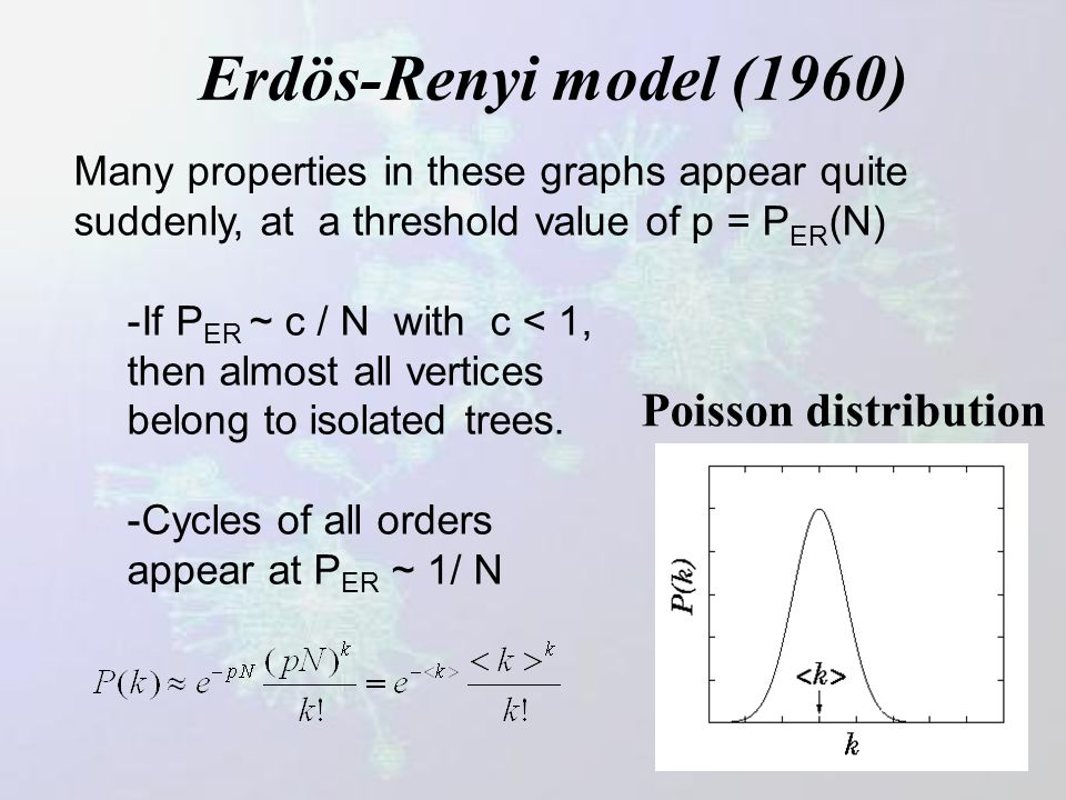 Random graphs – Erdos & Renyi (1960) Start with N nodes and for each pair of nodes, with probability p, add a link between them. For large N, there is