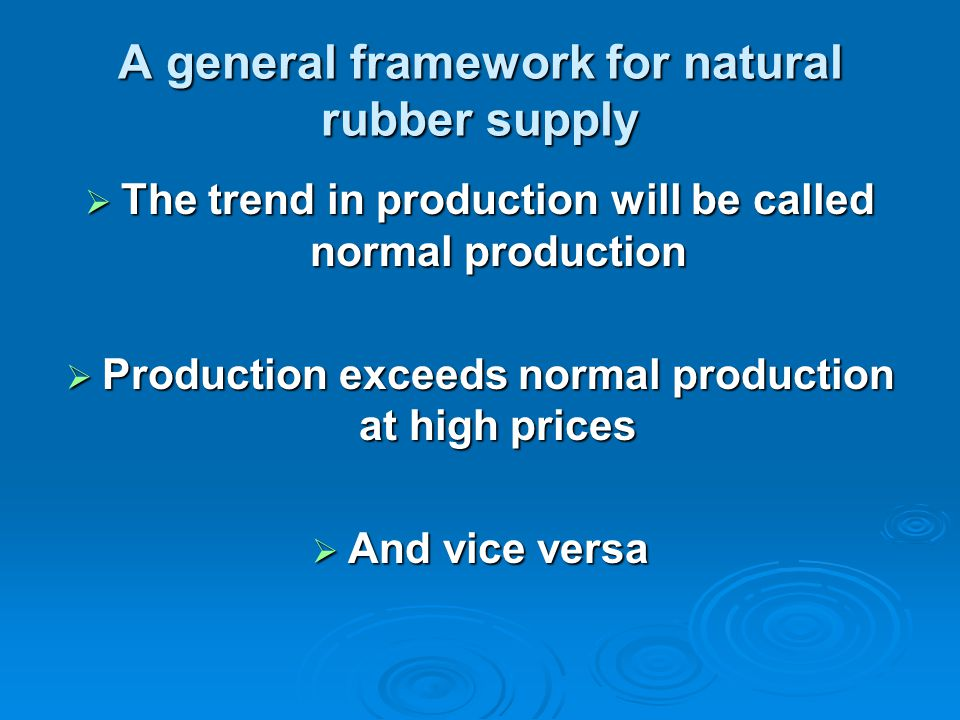 A general framework for natural rubber supply  The trend in production will be called normal production  Production exceeds normal production at high prices  And vice versa