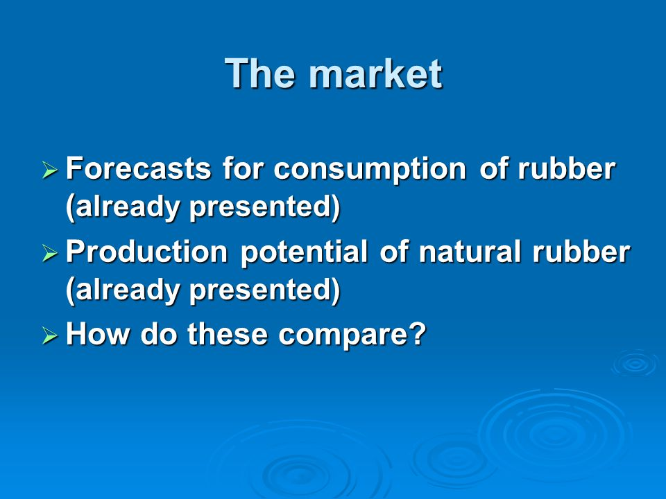 The market  Forecasts for consumption of rubber (a lready presented)  Production potential of natural rubber (a lready presented)  How do these compare