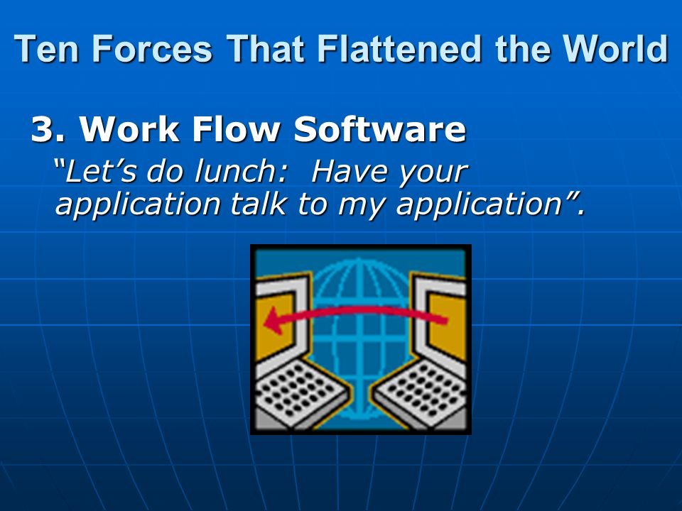 3. Work Flow Software Let's do lunch: Have your application talk to my application .