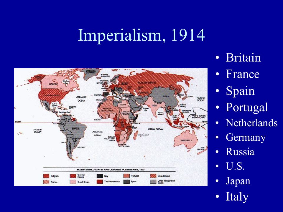 Imperialism, 1914 Britain France Spain Portugal Netherlands Germany Russia U.S. Japan Italy