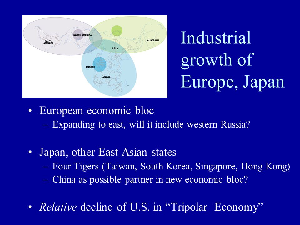 Industrial growth of Europe, Japan European economic bloc –Expanding to east, will it include western Russia? Japan, other East Asian states –Four Tig