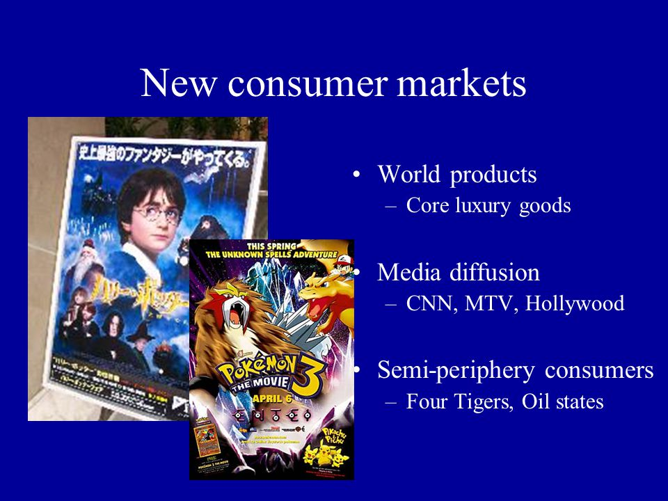 New consumer markets World products –Core luxury goods Media diffusion –CNN, MTV, Hollywood Semi-periphery consumers –Four Tigers, Oil states