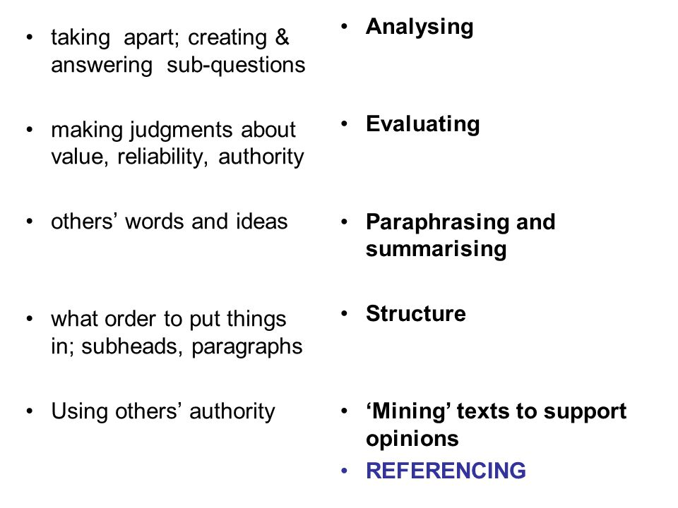 Analysing Evaluating Paraphrasing and summarising Structure 'Mining' texts to support opinions REFERENCING taking apart; creating & answering sub-ques