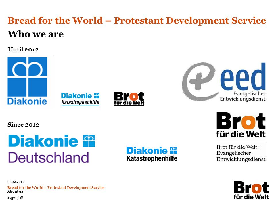 01.09.2013 Bread for the World – Protestant Development Service About us Page 6/38 National DutiesInternational Duties Protestant Agency for Diakonia and Development Bread for the World – Protestant Development Service Who we are