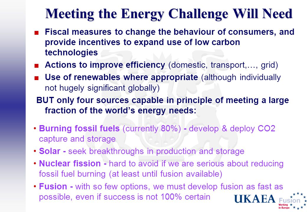 Meeting the Energy Challenge Will Need ■Fiscal measures to change the behaviour of consumers, and provide incentives to expand use of low carbon techn