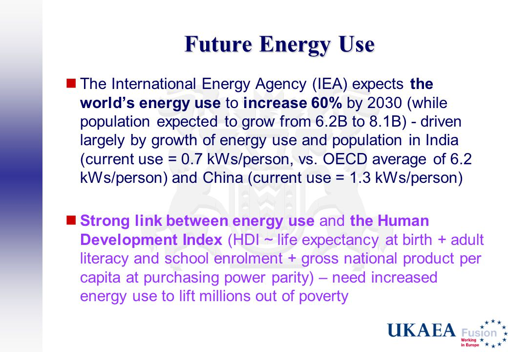 Future Energy Use The International Energy Agency (IEA) expects the world's energy use to increase 60% by 2030 (while population expected to grow from