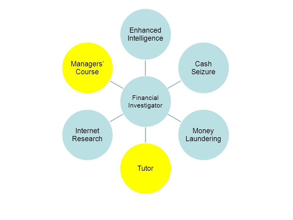 Financial Investigator Enhanced Intelligence Cash Seizure Money Laundering Tutor Internet Research Managers' Course