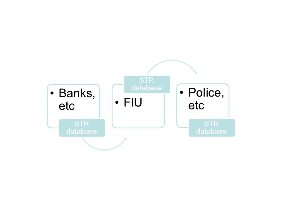 Banks, etc STR database FIU STR database Police, etc STR database