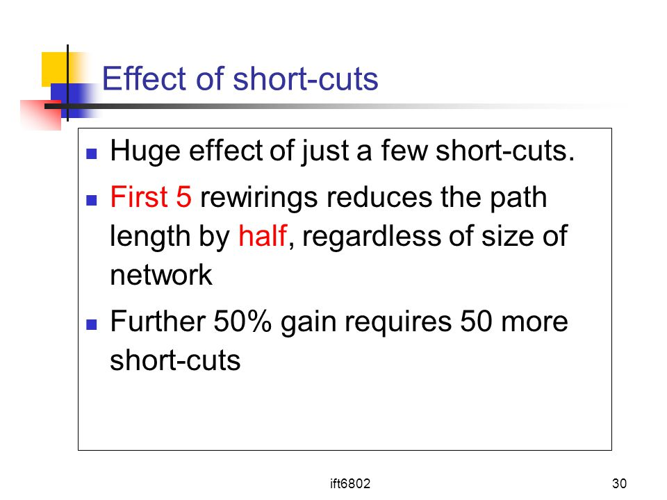 ift680230 Effect of short-cuts Huge effect of just a few short-cuts. First 5 rewirings reduces the path length by half, regardless of size of network