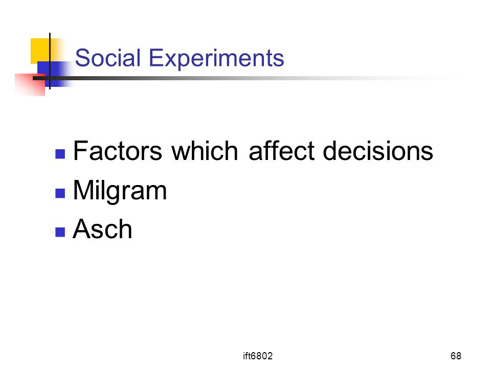 ift680268 Social Experiments Factors which affect decisions Milgram Asch