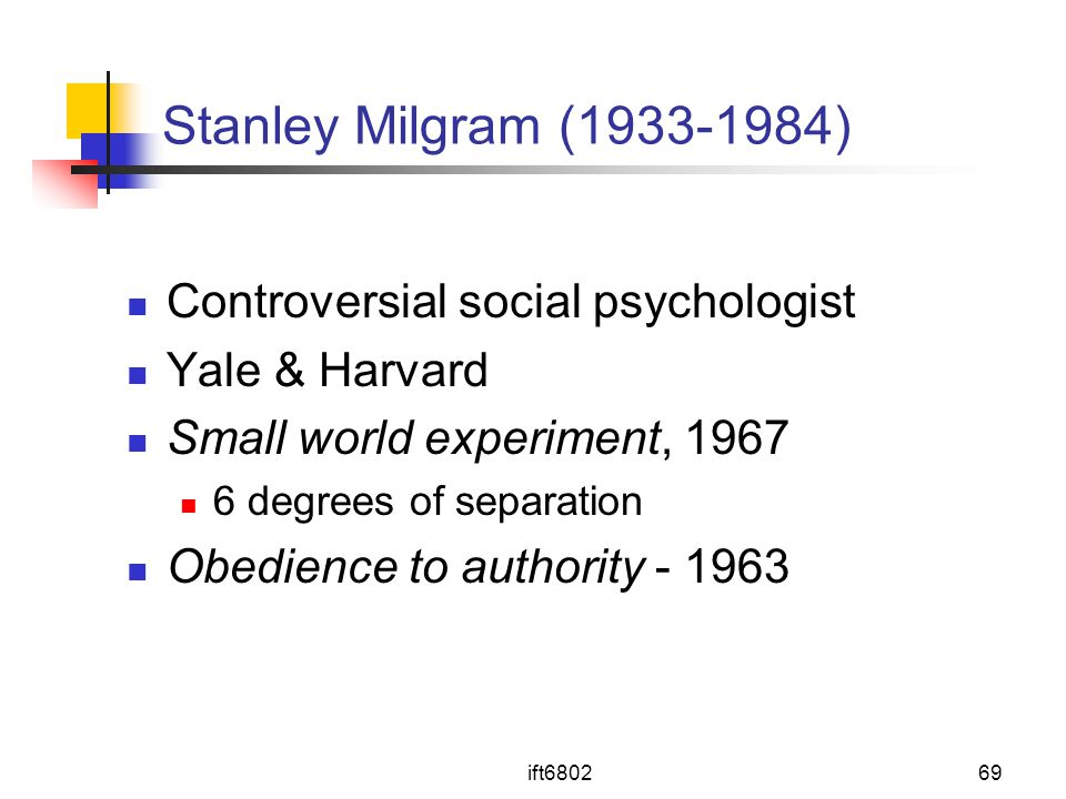 ift680269 Stanley Milgram (1933-1984) Controversial social psychologist Yale & Harvard Small world experiment, 1967 6 degrees of separation Obedience to authority - 1963
