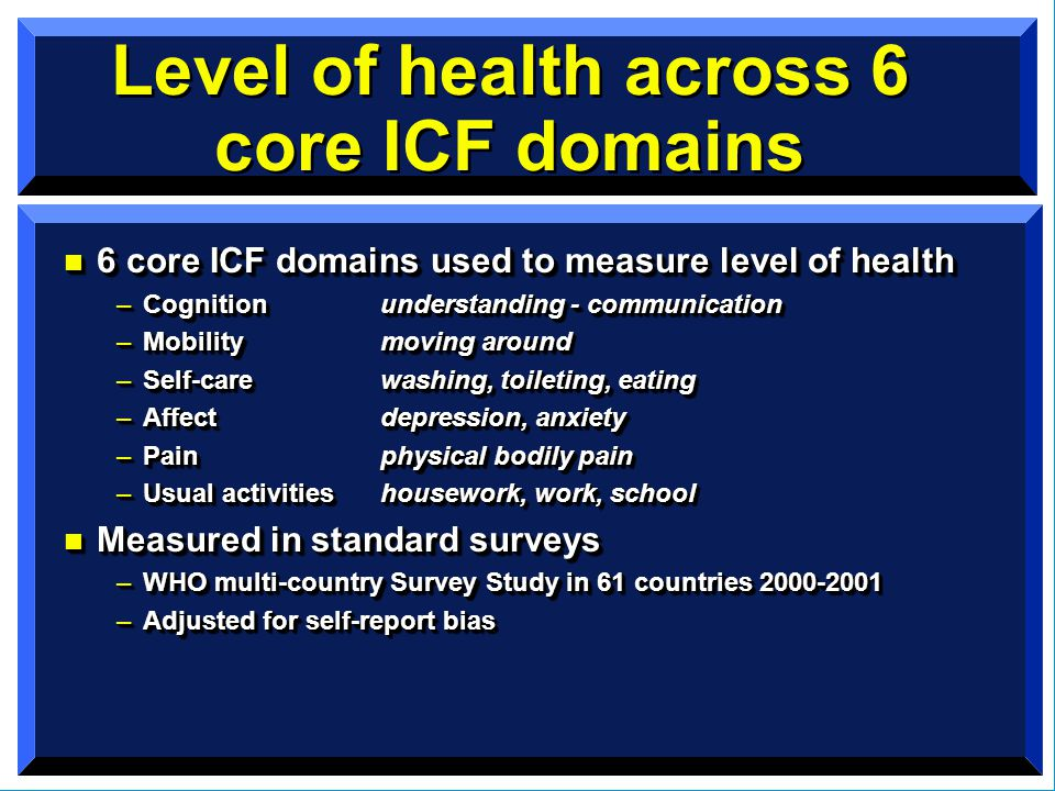 Level of health across 6 core ICF domains n 6 core ICF domains used to measure level of health –Cognitionunderstanding - communication –Mobilitymoving around –Self-carewashing, toileting, eating –Affectdepression, anxiety –Painphysical bodily pain –Usual activitieshousework, work, school n Measured in standard surveys –WHO multi-country Survey Study in 61 countries 2000-2001 –Adjusted for self-report bias n 6 core ICF domains used to measure level of health –Cognitionunderstanding - communication –Mobilitymoving around –Self-carewashing, toileting, eating –Affectdepression, anxiety –Painphysical bodily pain –Usual activitieshousework, work, school n Measured in standard surveys –WHO multi-country Survey Study in 61 countries 2000-2001 –Adjusted for self-report bias