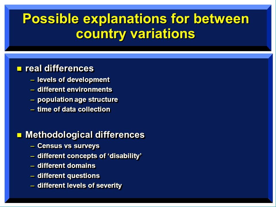 Possible explanations for between country variations n real differences –levels of development –different environments –population age structure –time of data collection n Methodological differences –Census vs surveys –different concepts of 'disability' –different domains –different questions –different levels of severity n real differences –levels of development –different environments –population age structure –time of data collection n Methodological differences –Census vs surveys –different concepts of 'disability' –different domains –different questions –different levels of severity