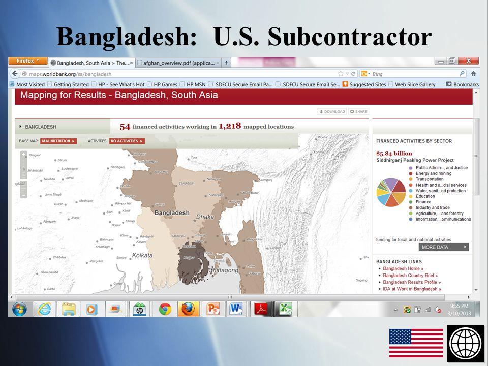 Bangladesh: U.S. Subcontractor