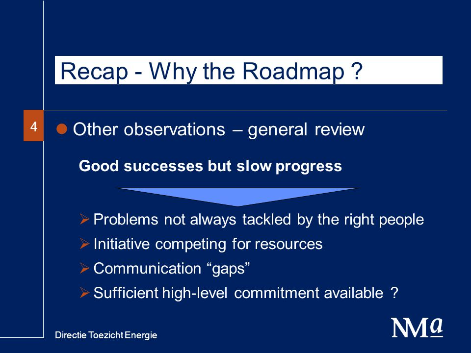 Directie Toezicht Energie 44 Recap - Why the Roadmap .