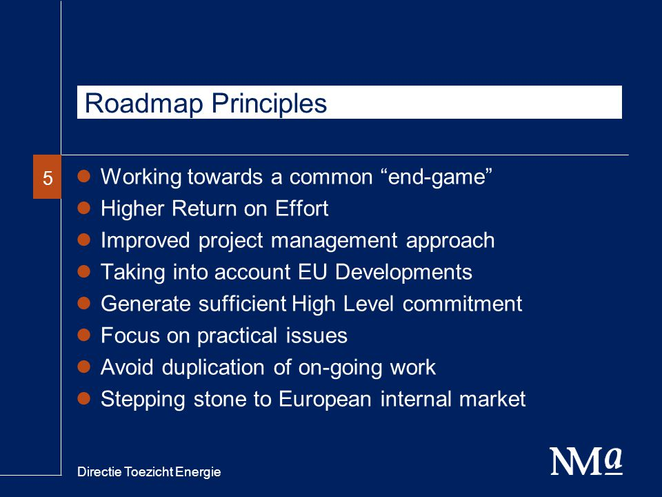 Directie Toezicht Energie 55 Roadmap Principles Working towards a common end-game Higher Return on Effort Improved project management approach Taking into account EU Developments Generate sufficient High Level commitment Focus on practical issues Avoid duplication of on-going work Stepping stone to European internal market