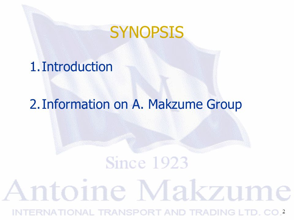 2 SYNOPSIS 1.Introduction 2.Information on A. Makzume Group