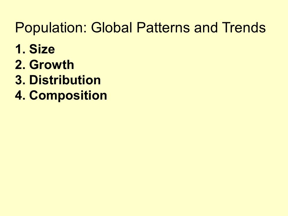 Population: Global Patterns and Trends 1. Size 2. Growth 3. Distribution 4. Composition