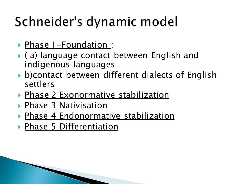  Phase 1-Foundation :  ( a) language contact between English and indigenous languages  b)contact between different dialects of English settlers  P