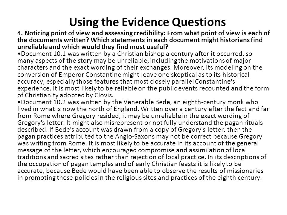 Using the Evidence Questions 4.