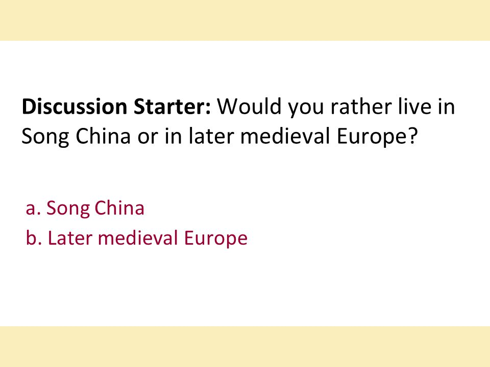 Discussion Starter: Would you rather live in Song China or in later medieval Europe.