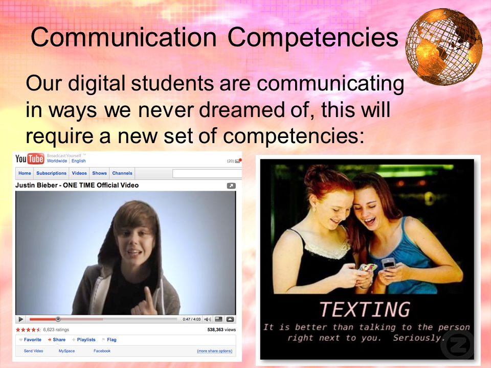 Communication Competencies Our digital students are communicating in ways we never dreamed of, this will require a new set of competencies: