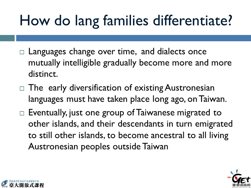 How do lang families differentiate.