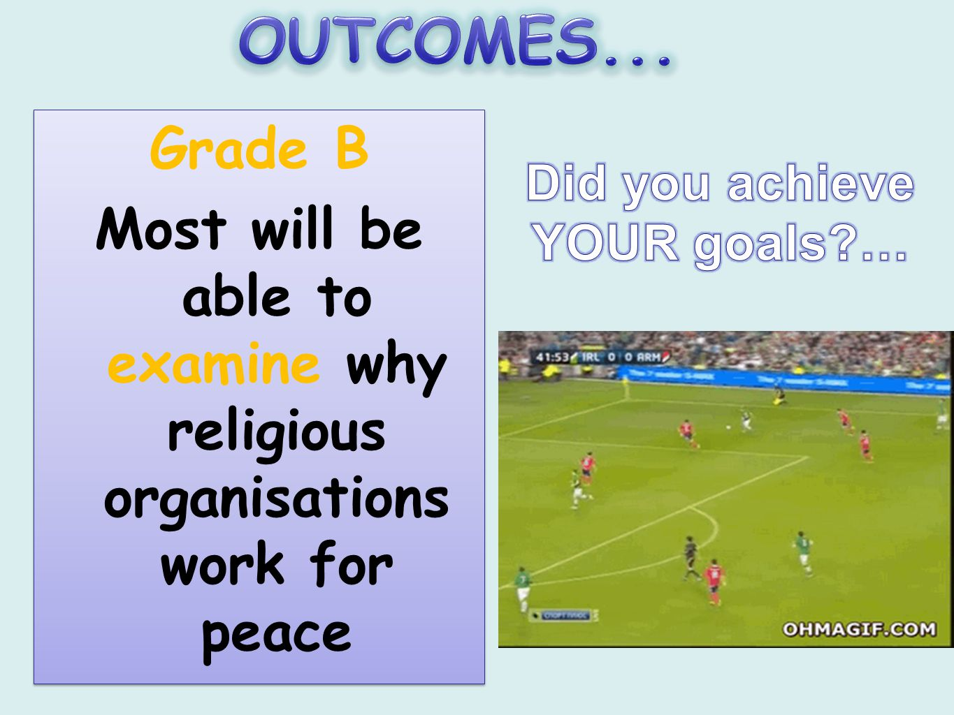 Grade B Most will be able to examine why religious organisations work for peace Grade B Most will be able to examine why religious organisations work for peace