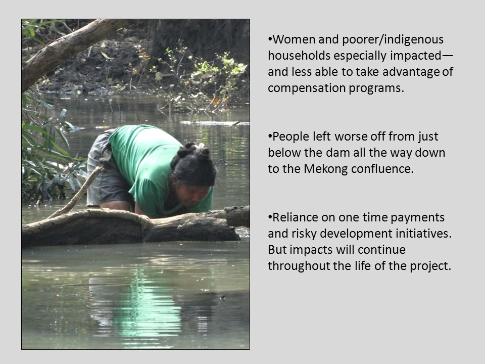 Women and poorer/indigenous households especially impacted— and less able to take advantage of compensation programs.