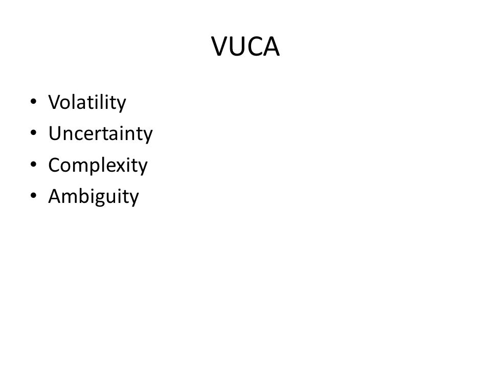 VUCA Volatility Uncertainty Complexity Ambiguity
