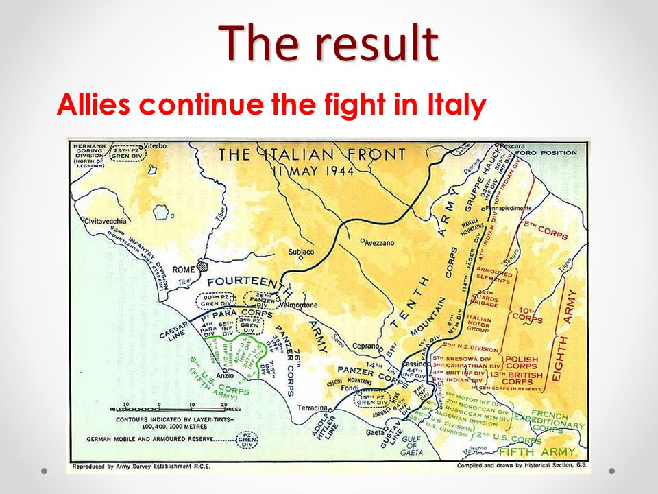 The result Allies continue the fight in Italy
