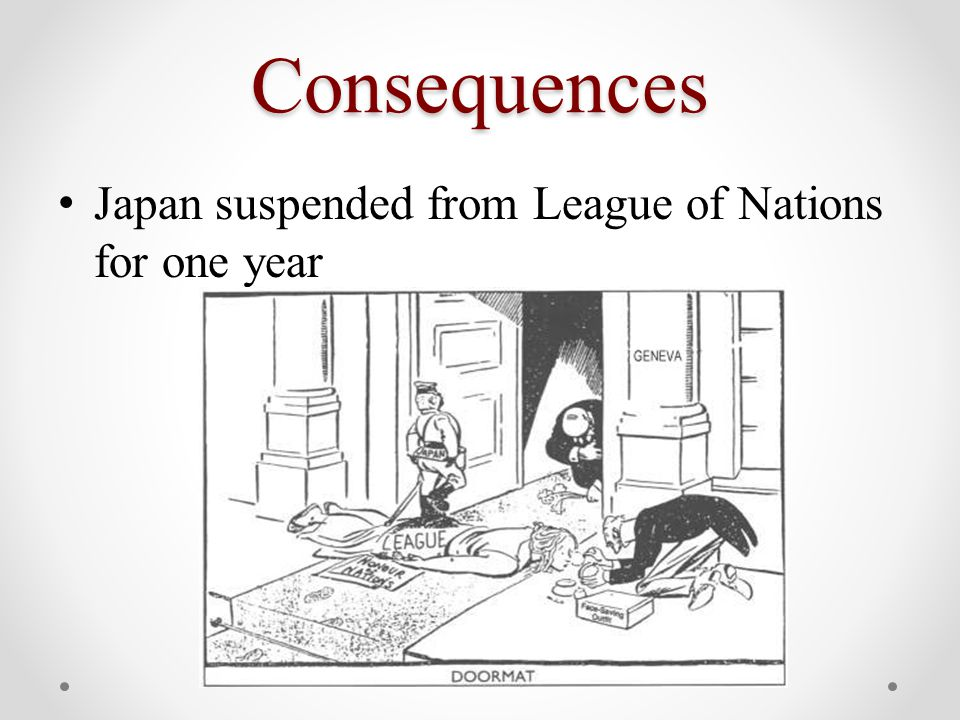 Consequences Japan suspended from League of Nations for one year