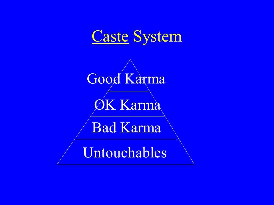 Caste System Untouchables Good Karma OK Karma Bad Karma