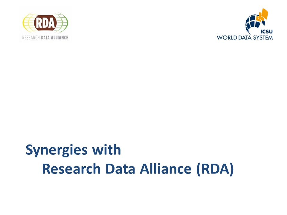 Synergies with Research Data Alliance (RDA)
