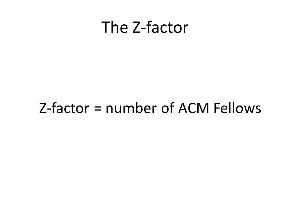 The Z-factor Z-factor = number of ACM Fellows