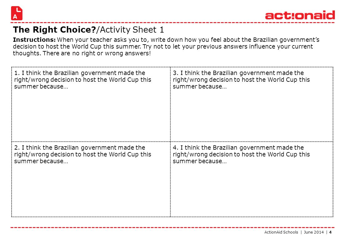ActionAid Schools | June 2014 | 4 The Right Choice?/Activity Sheet 1 Instructions: When your teacher asks you to, write down how you feel about the Br