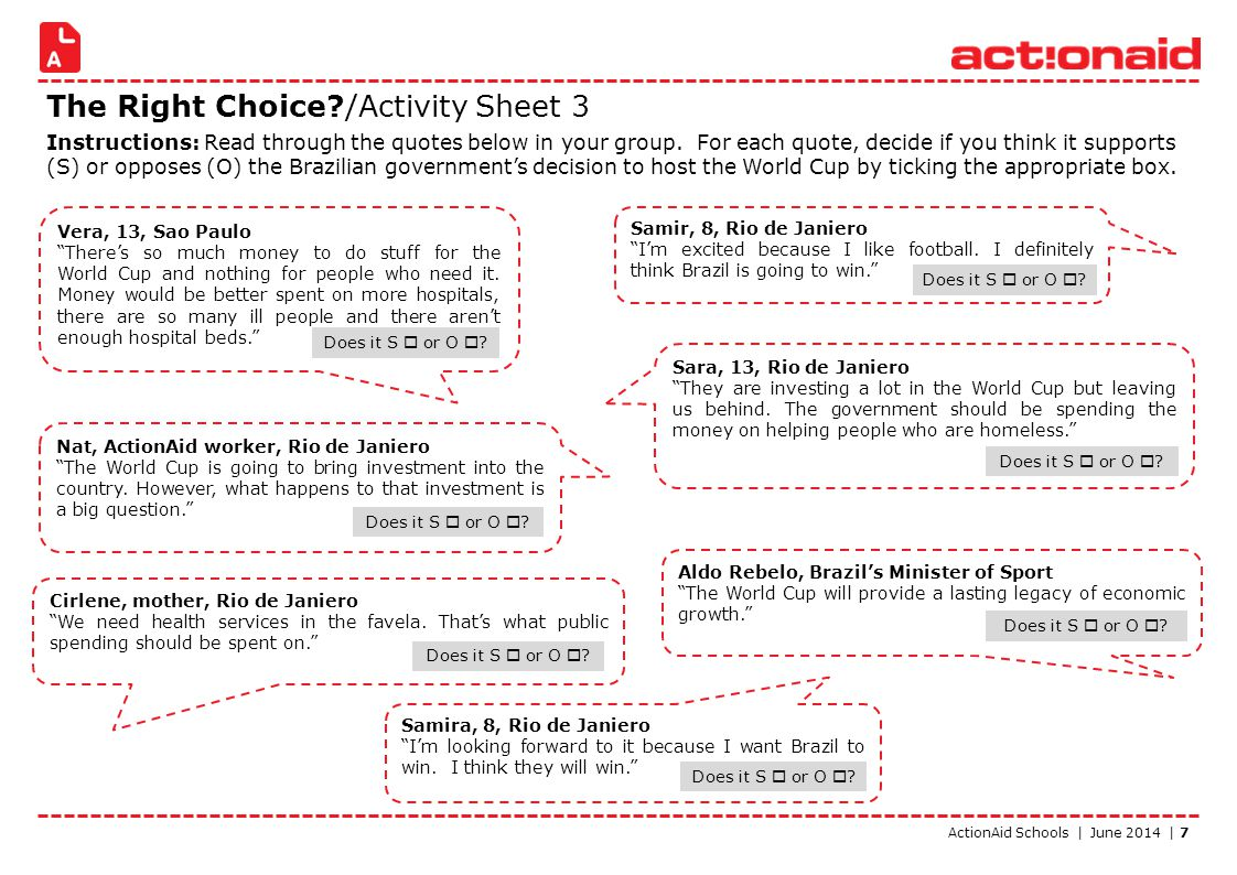 ActionAid Schools | June 2014 | 7 The Right Choice?/Activity Sheet 3 Instructions: Read through the quotes below in your group. For each quote, decide