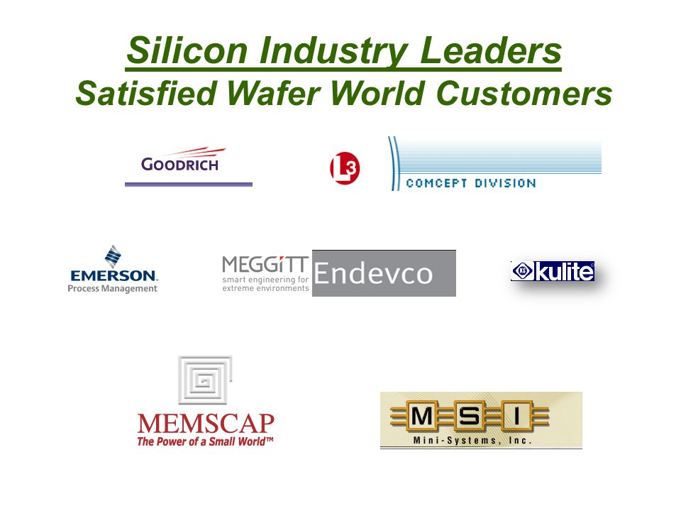 Silicon Industry Leaders Satisfied Wafer World Customers