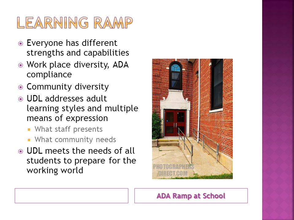 ADA Ramp at School  Everyone has different strengths and capabilities  Work place diversity, ADA compliance  Community diversity  UDL addresses adult learning styles and multiple means of expression  What staff presents  What community needs  UDL meets the needs of all students to prepare for the working world