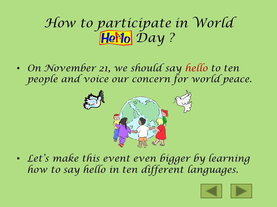 History of World Day World Hello Day was begun in response to the conflict between Egypt and Israel in the Fall of 1973. Since then, World Hello Day h
