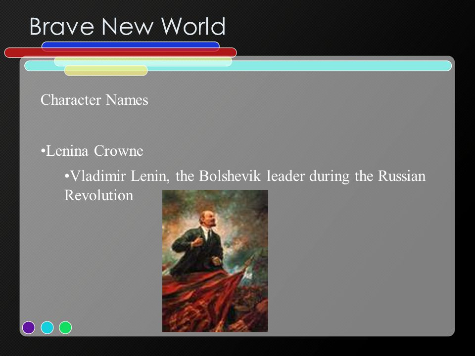 Brave New World Character Names Lenina Crowne Vladimir Lenin, the Bolshevik leader during the Russian Revolution