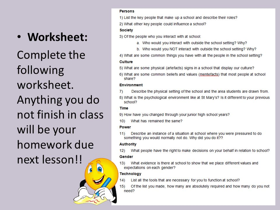 Worksheet: Complete the following worksheet.