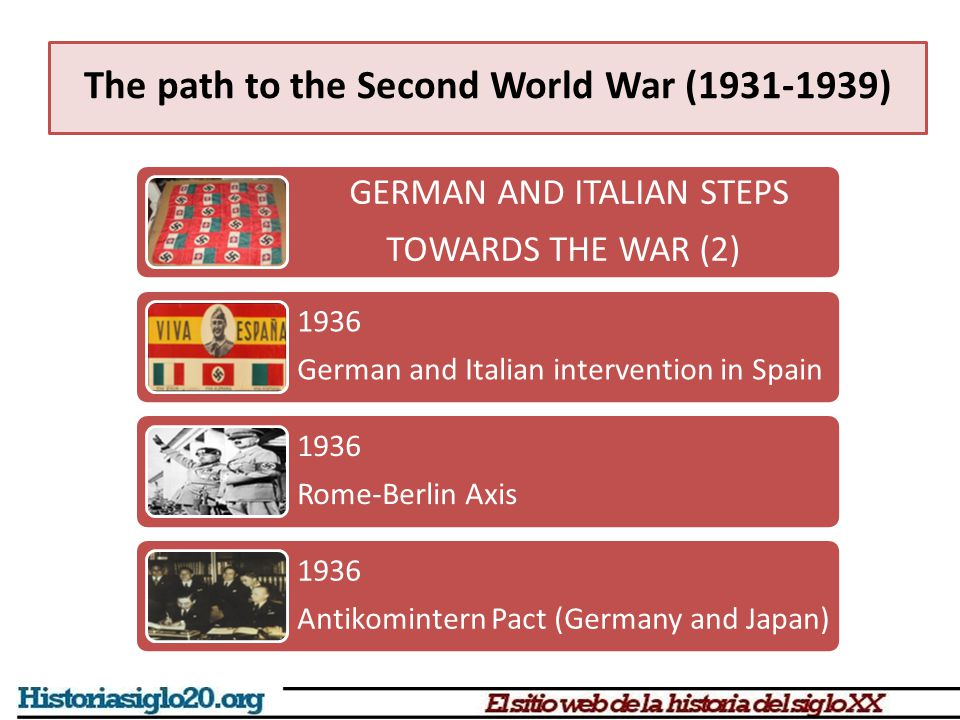 The path to the Second World War (1931-1939) GERMAN AND ITALIAN STEPS TOWARDS THE WAR (2) 1936 German and Italian intervention in Spain 1936 Rome-Berl