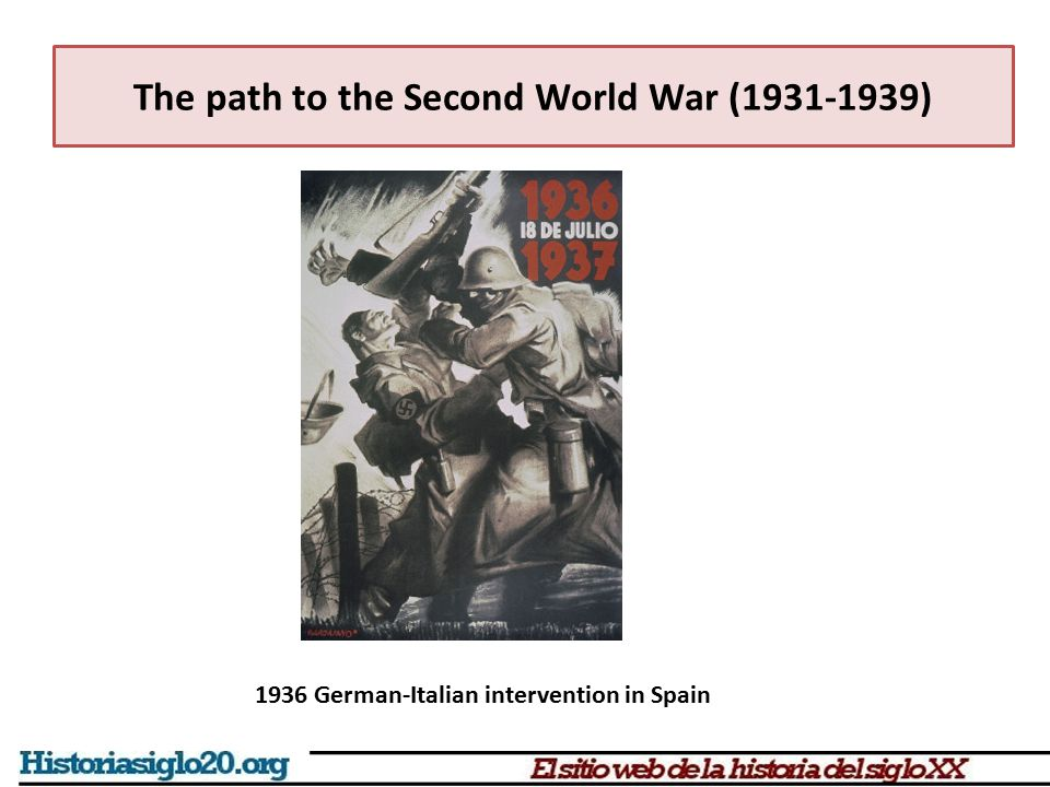 The path to the Second World War (1931-1939) 1936 German-Italian intervention in Spain