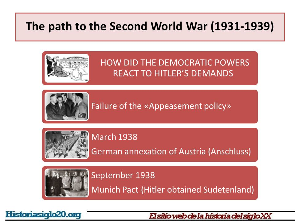 The path to the Second World War (1931-1939) HOW DID THE DEMOCRATIC POWERS REACT TO HITLER'S DEMANDS Failure of the «Appeasement policy» March 1938 Ge