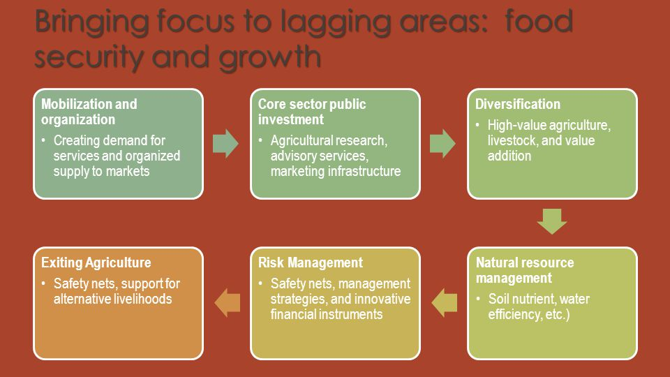 Bringing focus to lagging areas: food security and growth Mobilization and organization Creating demand for services and organized supply to markets C
