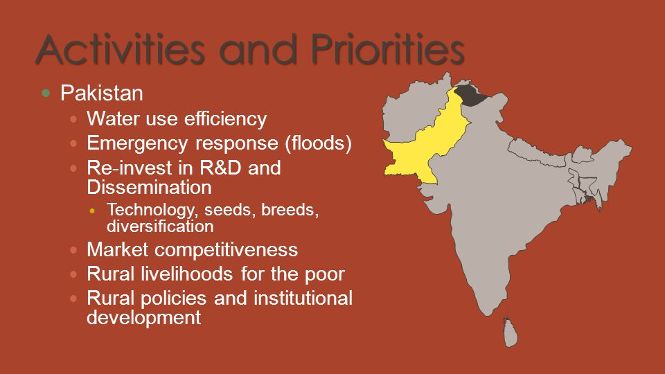 Activities and Priorities Pakistan Water use efficiency Emergency response (floods) Re-invest in R&D and Dissemination Technology, seeds, breeds, dive